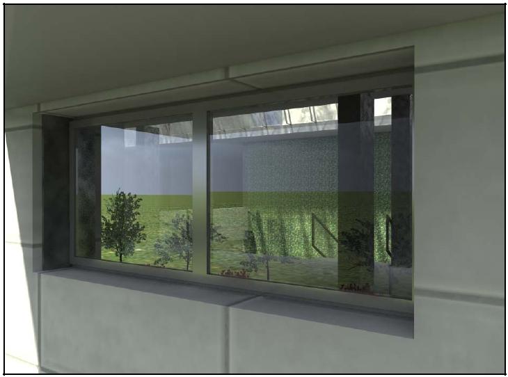 Detalle ventana y muro verde interior